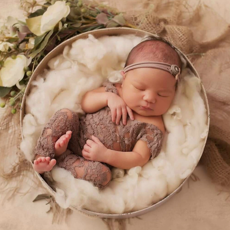 KLV Newborn Beautiful Long Leg Lace   Romper   With Open Back Baby Girl Photography Prop