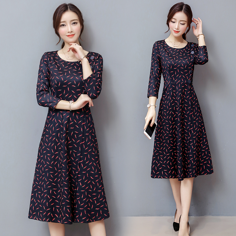 Femmes Coréen De ligne Hiver Tenue Base Floral A À Robes Imprimé 3xl Taille Cou New Longues Mode Manches Robe M Automne O Conception 7PEw5WCqx