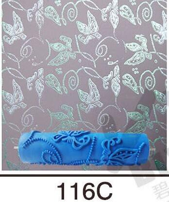 7inch 3D rubber wall decorative painting roller, wall paint roller without handle grip, butterfly roller wallpaper tools,116C