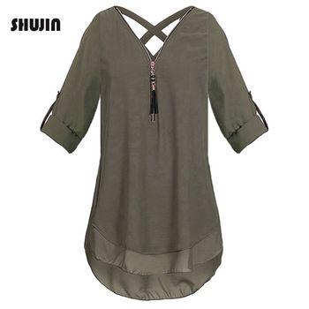 ed59097b0ff SHUJIN для женщин большой размеры шифоновая блузка повседневное молния V  средства ухода за кожей шеи короткий рукав туника рубашк