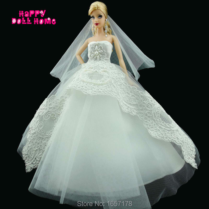 7d3ed2111042 Handmade Wedding Party Dress Bridal Veil White Gown With Copy Pearl ...