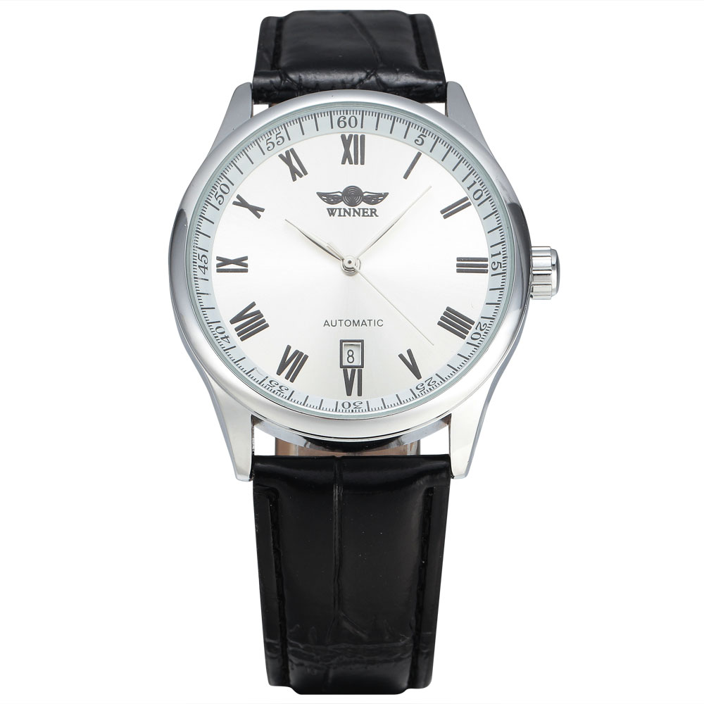 Top Brand WINNER Business Men Dress Simple Rome Auto Date Dial Automatic Watch Leather Strap Mechanical Men's Wrist Watches top luxury brand winner men s tourbillon wrist watches leather band men s automatic mechanical watch sub dial calendar date