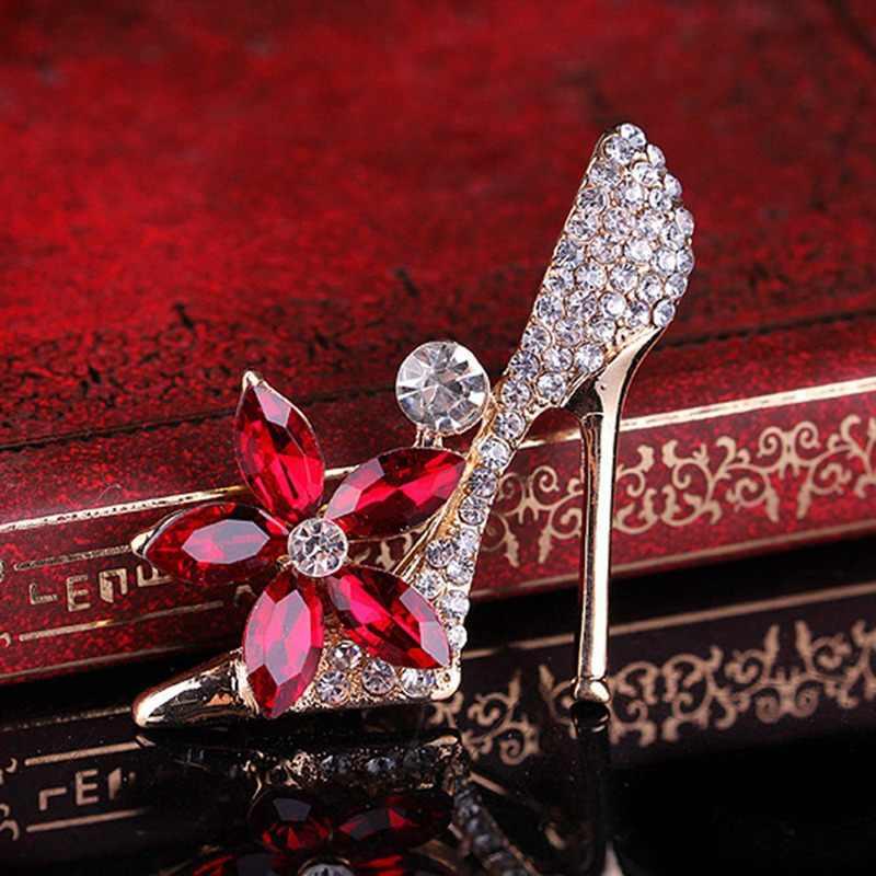 รองเท้าคริสตัลขนาดใหญ่ Vintage เข็มกลัดผู้ชายชุดสูทดอกไม้สีแดงเข็มกลัดเข็มกลัดสำหรับผู้หญิง