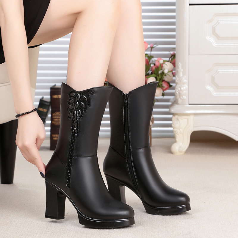 ФОТО 2016 new genuine leather women winter boots, wool lined fashion women fringed boots, high-heeled female motorcycle boots