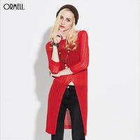 ORMELL 2016 Casual Pullovers Loose Red White Black Knitwear Long Front Split Three Quarter Length Sleeve