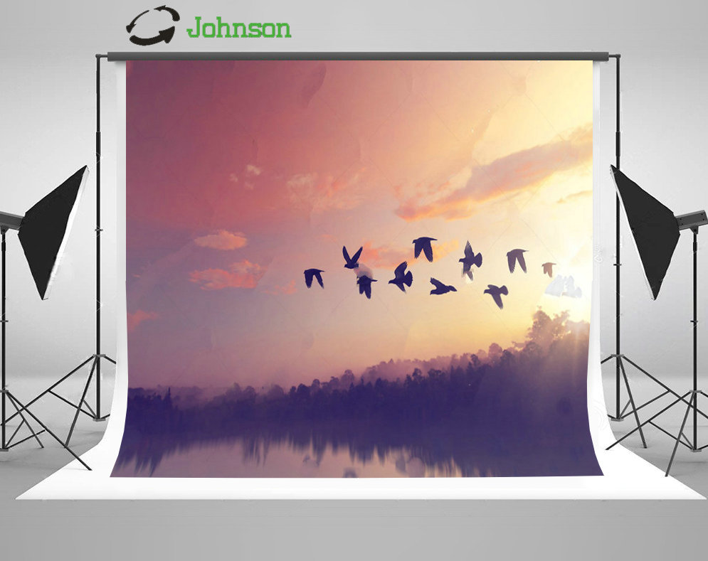 Sunset Sky Clouds Birds River Tree backdrop polyester or Vinyl cloth High quality Computer print wall Backgrounds