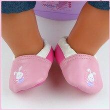 New Rabbit Pink Leather Shoes Wear fit 43cm Baby Born zapf, Children best Birthday Gift