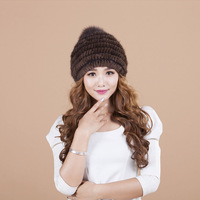 Casual Mink Fur Kniting Hat Women Caps Double Thickening Warm Fashion Cute Hat Black Beanies Female