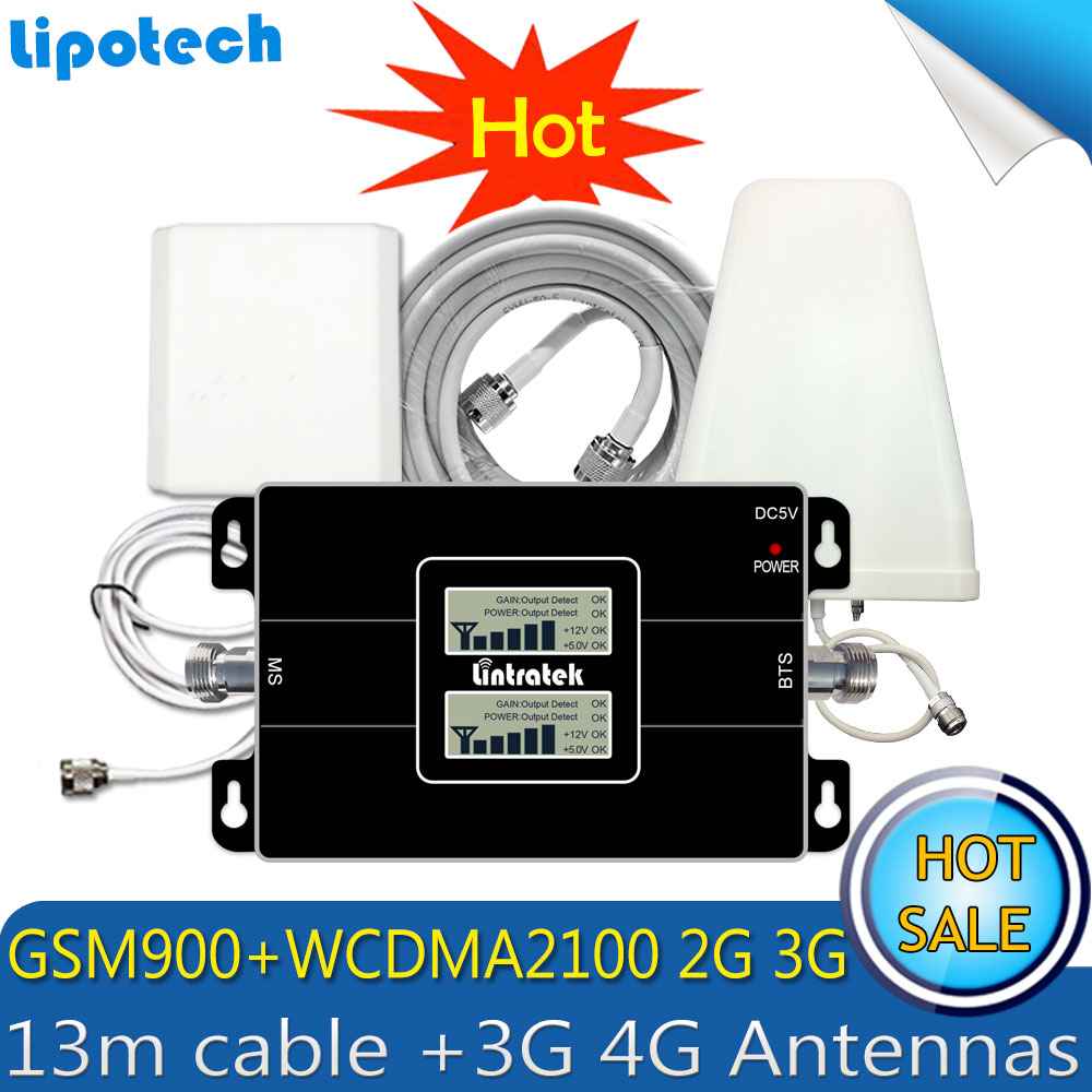 Lintratek 3G WCDMA 2100MHz GSM 900Mhz Dual Band Mobile Signal Booster GSM 900 2100 UMTS Signal Repeater Amplifier 4G Antenna