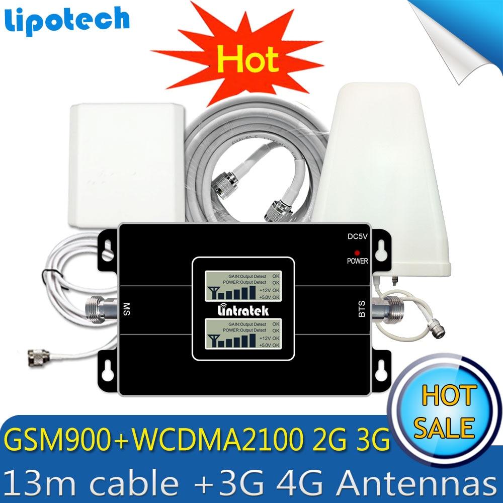 Lintratek 3G WCDMA 2100 MHz GSM 900 Mhz double bande amplificateur de Signal Mobile GSM 900 2100 UMTS amplificateur de répéteur de Signal antenne 4G