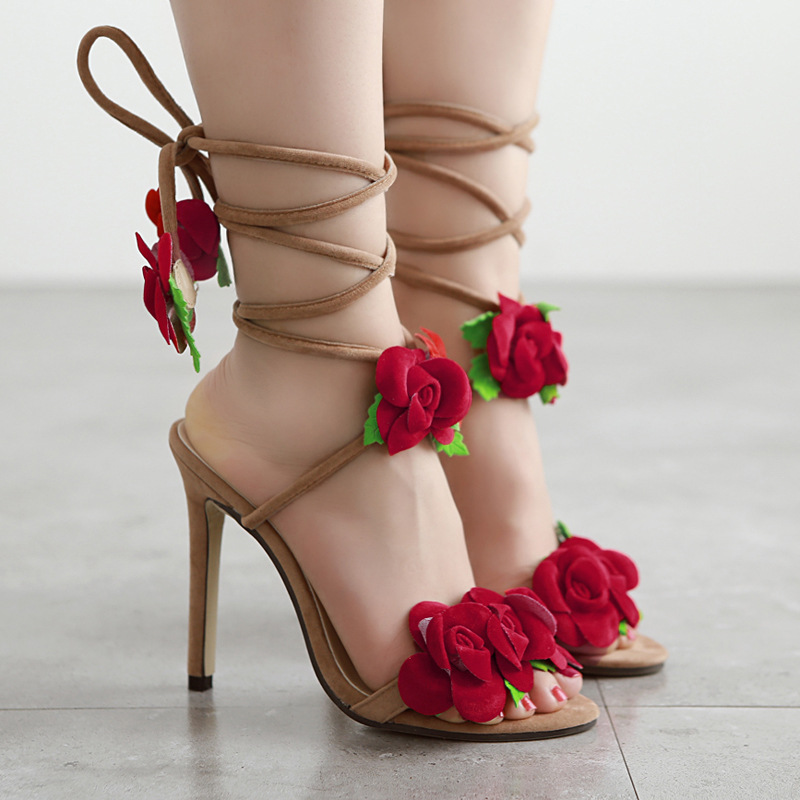 Womens Lace Up High Heels Pointed Ankle Strap Sandals Fashion Flock Ladies Thin Heel Flowers Shoes for Wedding Party