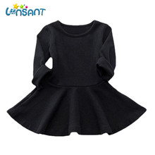 LONSANT 2017 Autumn Girls Dresses Long Sleeve A-Line Vestidos Solid Cotton Children Clothes Baby Girl Clothing Dropshipping