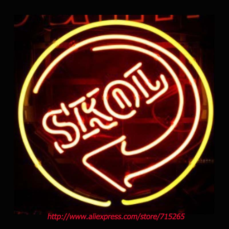 SkoL Beer Neon Bulbs Board Neon Sign Light Store Display Real Glass Tube Handcrafted Advertising Beer Pub Impact Decorate 17x17