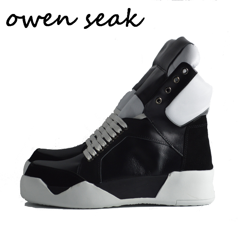 Owen Seak Men Shoes High Ankle Luxury Trainers Genuine Leather Sneaker Riding Winter Snow Boots Casual