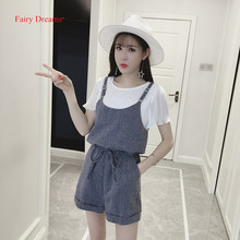 Fairy Dreams 2 Piece Set Women Costume White T Shirt Tops And Shorts 2017 Spring Summer Bandage Playsuits Fashion Casual Clothes