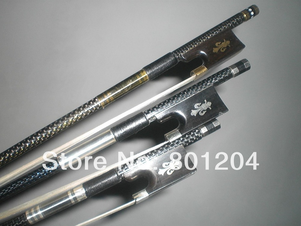 3 PCs High quality Strong Carbon Fiber Violin Bow 4/4 black carbon fiber bow 2 pcs quality black carbon fiber violin bow black bow hair ebony frog with carved flower 4 4