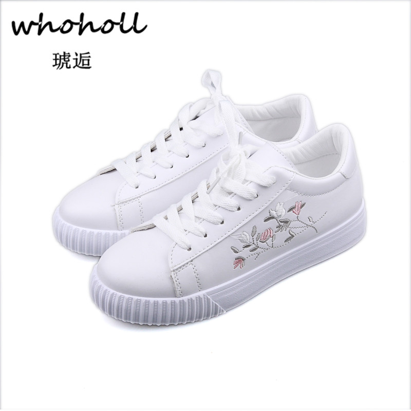 Whoholl Women Lace-up Shoes Fashion Womens Straps Sneakers Embroidery Flower Shoes Womens Vulcanize Shoe Female Girls Footwear