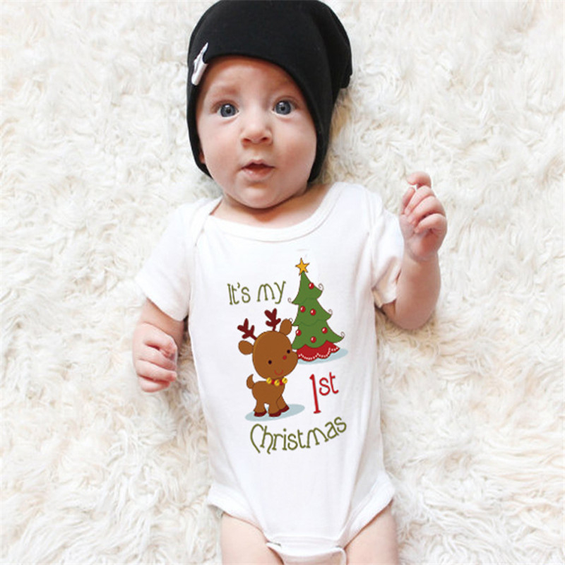 Rong-7 I Love Moose Newborn Baby Girl Boy Bodysuit Jumpsuit Short Sleeved Bodysuit Tops Clothes