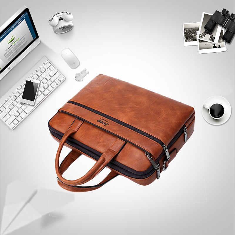 """جيب BULUO الرجال حقيبة حقائب ل 14 """"محمول رجل حقيبة أعمال 2 قطعة مجموعة حقائب عالية الجودة جلدية مكتب حقائب كتف حمل"""