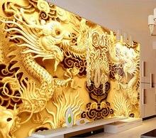 3D Золотые Драконы Гравюра На Дереве Настенные фрески Фото Обои Китайский стиль обои Искусство декор Номеров Диван фон стены Детская комната