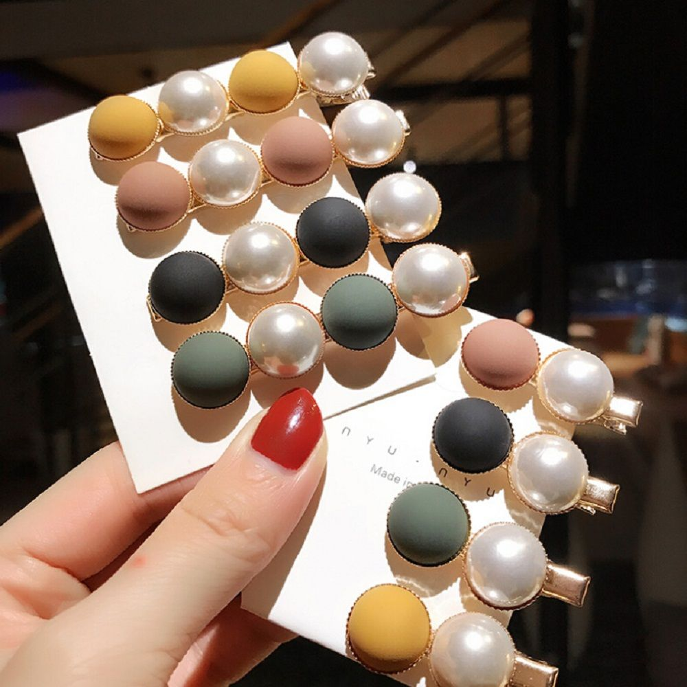 Spring Candy Scrub Bead Hairpin Sweet Imitiation Pearl Korean Hair Clips Fashion Hair Accessories For Women Beads Hairpins