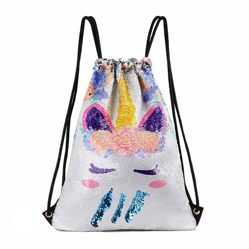Новый Блестящий рюкзак на шнурке двусторонняя сумка с единорогом Блестящий Большой рюкзак дорожные сумки для девочек Женская дорожная пляжная сумка для покупок