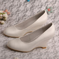 Wedopus MW430 New Arrival Bride Wedge Shoes Ivory Satin Wedding Shoes Closed Toe 3'' Heel