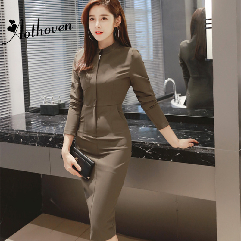 Autumn Bodycon Pencil Dress Women Black Army Green Stand up Collar Long Sleeve Dress Casual Office