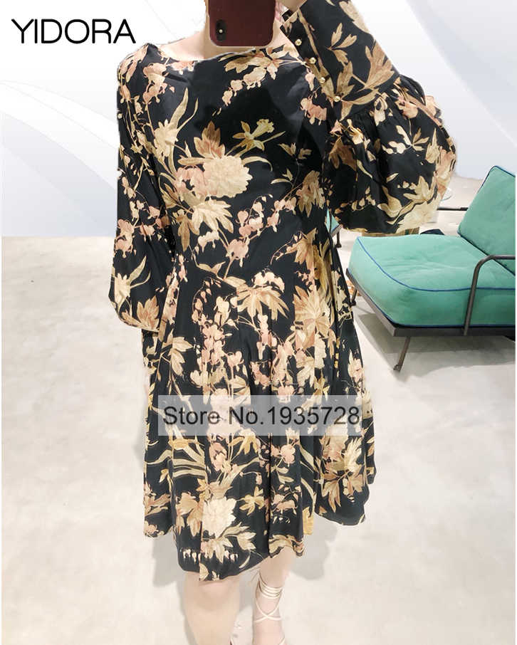 5cf24024b217d Latest Top Quality Silk Women Black Unbridled Basque Floral Print Bias Cut  Pleated Mini Dress With Empire Waist & Puff Sleeves