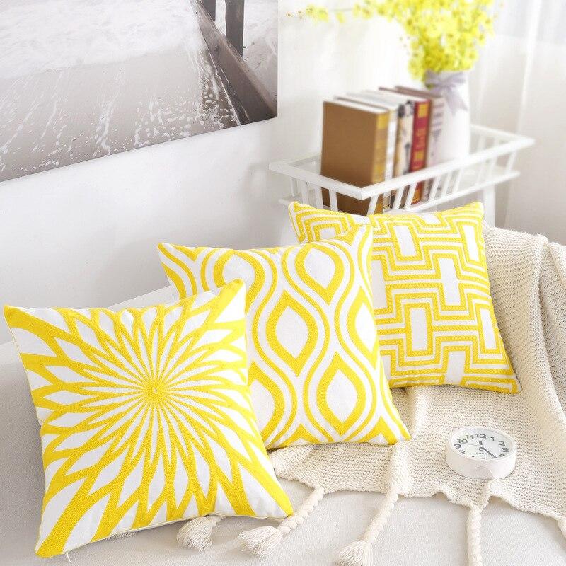 Nordic вышивка подушки Чехлы геометрический цвет: желтый, белый в полоску диван подушками полиэстер хлопок Спальня наволочки