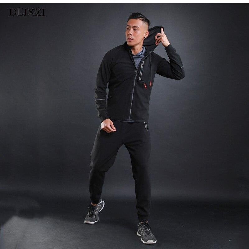 DLXZI Brand Spring Autumn Tracksuit Set Casual Sporting Fitness Jogger Sportswear Pocket Zipper Fashion Hoodeds Male