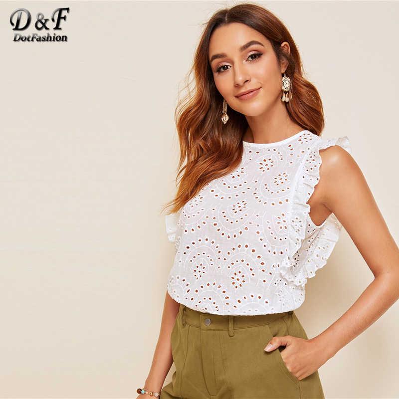 Dotfashion 白アイレット刺繍詳細ブラウス女性 2019 夏キャップスリーブバックボタンアップブラウスレディースカジュアルトップ