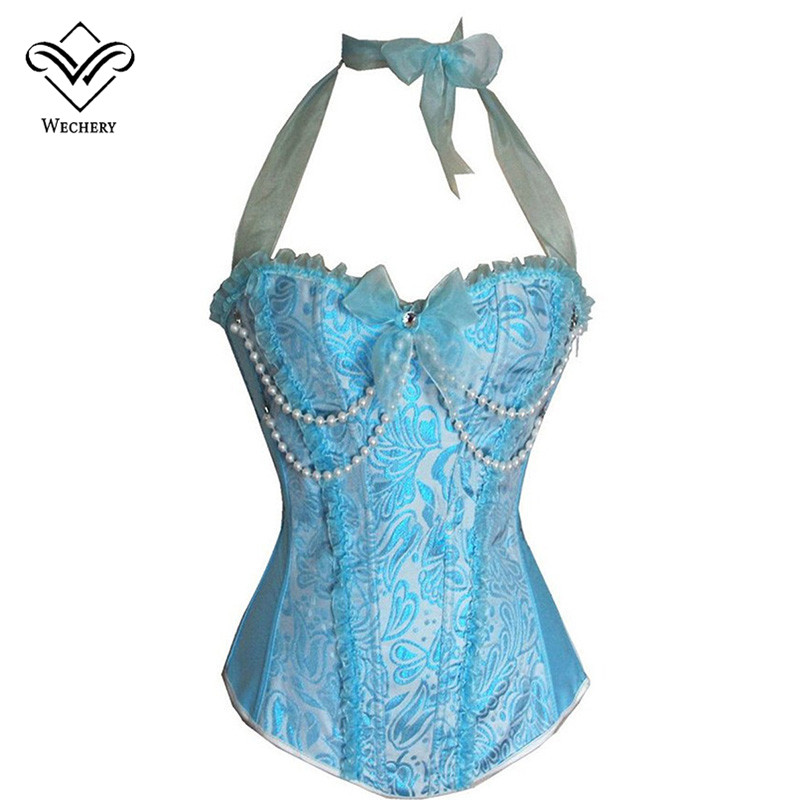 Wechery Sexy   Corset   Pink Blue Burlesque Corselet   Corsets   and   Bustiers   Bodice Sexy Lingerie Beaded Halter Overbust   Bustier