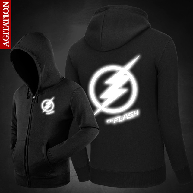 3M Reflective Jacket Men The Flash Luminous Cosplay Costume Winter New Casual Oversized Hooded Sweatshirt Baseball Veste Homme