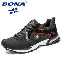 BONA 2019 Running Shoes Men Fashion Outdoor Light Breathable Sneakers Man Lace-U