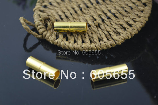 4mm and 6mm Gold Color Plating Tube Shape Magnetic Necklace Clasps fit Leather Cord Bracelets Making Jewelry  Findings