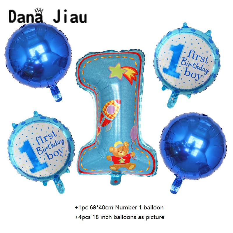 5pcs boy girl 1th year old firth Birthday Party foil balloon baby shower decorations Helium Ballon children's event kids toy