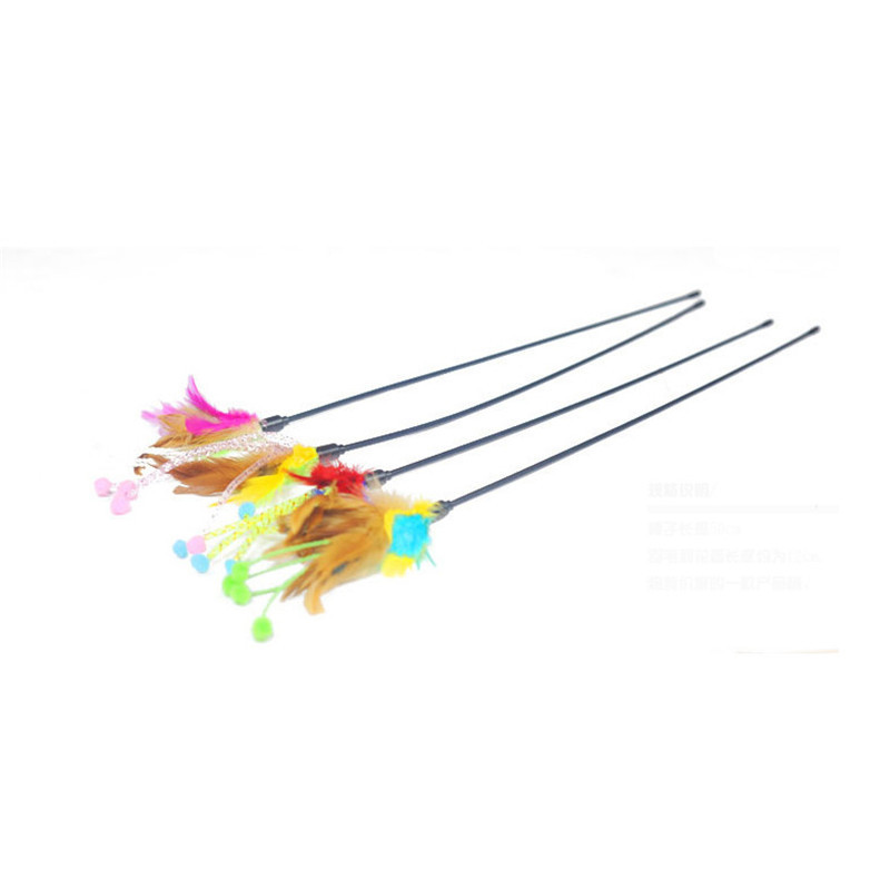 Flower bud feathers fun cats pet kitten jump train help fun cat toys