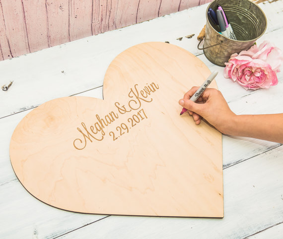 Wedding Guestbook Personalized Wooden Heart Guestbook Alternative for Wedding,Wedding Signs Wooden Heart Engraved with Names