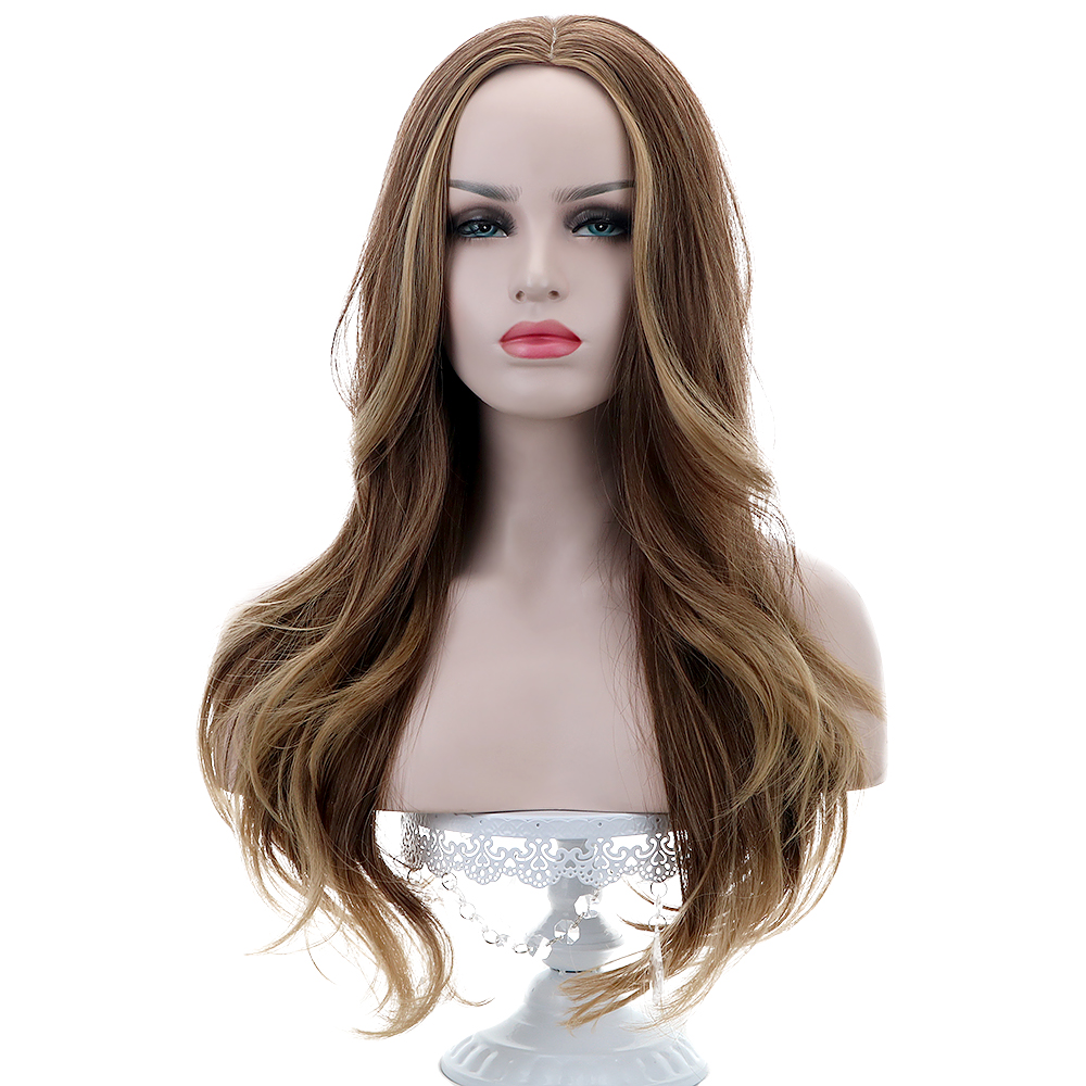 "28""Synthetic Wigs For Women Brown Blonde Ombre Middle Score Long Curly  Wigs Cosplay Wigs High Density 150% 245g Heat Resistant"