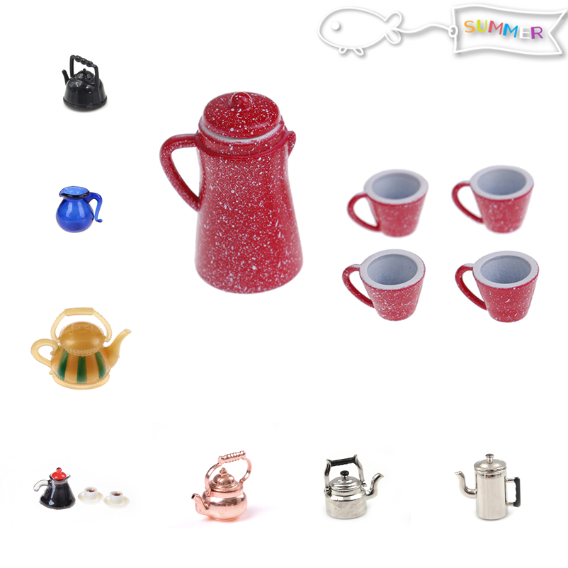 1/12 Dollhouse Classic Toys Miniature Copper Tea Kettle/Tea Pot /cups Pretend Play Furniture Toy For Miniature Kitchen Accessory