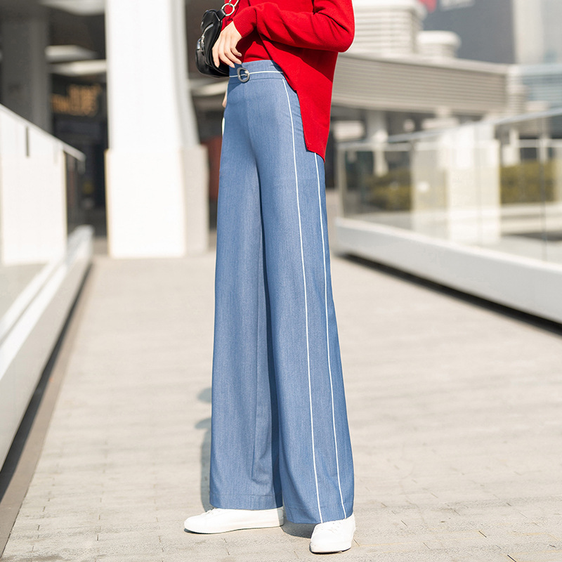 2019 spring new women   wide     leg     pants   casual comfortable flat thin high waist   pants   zipper straight long trousers S to 3XL blue