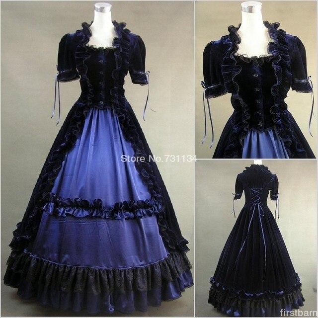 1fc99eac932d High Quality Dark Renaissance Fair Medieval Velvet Victorian Ball Gown Dress  Theater Reenactment Clothing Steampunk Costume