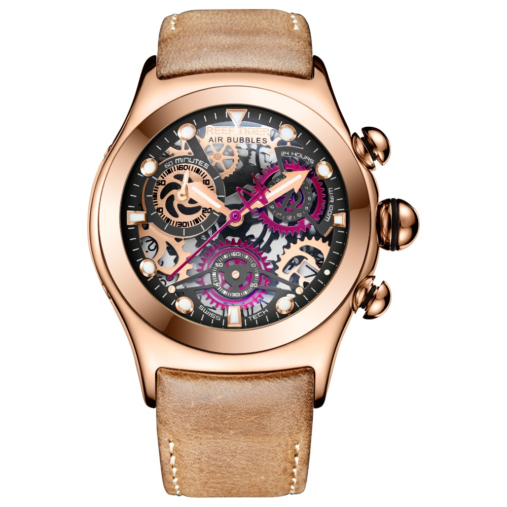 Reef Tiger RT Skeleton Sport Watches for Men Rose Gold Luminous Quartz Watches Genuine Leather Strap