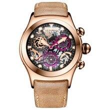 Риф Тигр/РТ Скелет спортивные часы для мужчин розовое золото светящиеся кварцевые часы из натуральной кожи ремешок RGA792