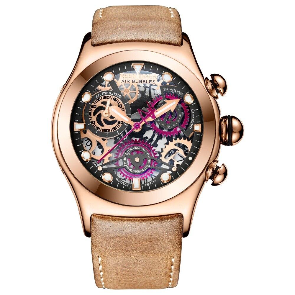 리프 타이거/rt 스켈레톤 스포츠 시계 남자 로즈 골드 빛나는 석영 시계 정품 가죽 스트랩 rga792-에서수정 시계부터 시계 의  그룹 1