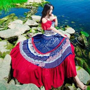 Image 4 - ใหม่คุณภาพสูงระเบิด Vintage Vintage Elegant Party Dresses ผู้หญิง Patchwork ฤดูใบไม้ผลิฤดูร้อนชุดลำลอง