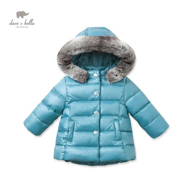 DB2790 dave bella infantil inverno casaco azul bebê casaco acolchoado meninas casaco de penas de pato branco para baixo meninas casaco azul