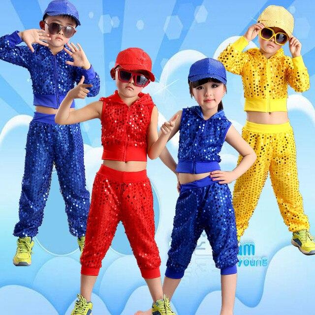 1e54a379e Jazz Dance Costumes Sequins Dance Clothing Children Modern Dance ...