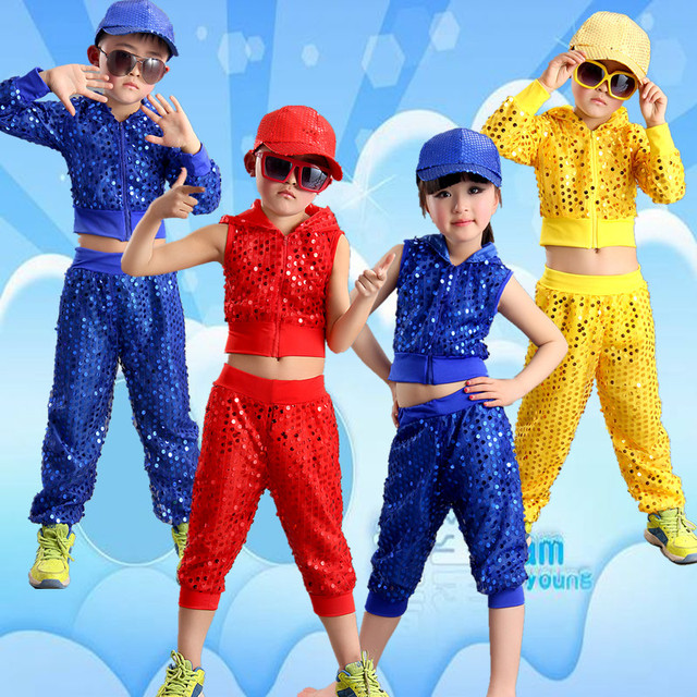 f176c17a0dc6 Jazz Danza Costumi di Paillettes Danza Per Bambini Moderna Performance di Danza  Hip-Hop Danza
